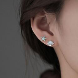 Cute Starfish Shell Silver Ocean Beach Jewelry For Her Women's Earring Studs
