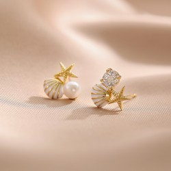Cute Starfish Shell Pearl Crystal Gift Ocean Sea Summer Jewelry For Her Women's Earring Studs