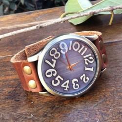 Handmade Big Convex Dial Retro Leather Watch