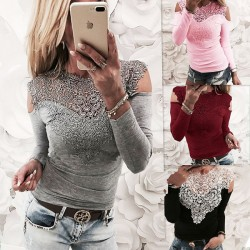 Sexy Off Shoulder Long Sleeve Women's Flower Splice Lace Tops