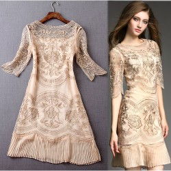 Elegant Flower Embroidered Gauze Asymmetrical Sleeve Slim Pleated Hem Dress
