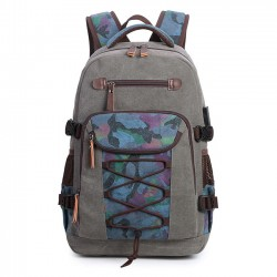 Retro Large Canvas Rucksack Outdoor Bag Men's Camo Bandages Travel Backpack