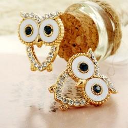 Lovely Gold-plated Hollow Heart Green Diamond Eyes Owl Earrings