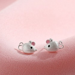 Lovely Mini Mouse Pink Ear Silver Earring Studs Animal Girls' Earrings