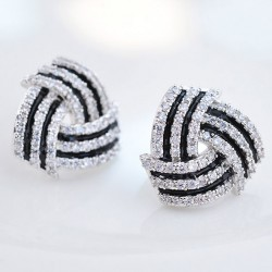 Shining Diamond-bordered Stratified Geometric Pattern Spiral Silver Women Earring Studs