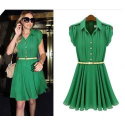 Fresh Green Lapel Single-breasted Chiffon Dress