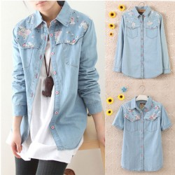 Vintage Floral Washed Denim Shirt