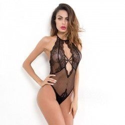 Sexy Mesh Lace Hollow Conjoined Women Intimate Lingerie
