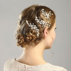 Fashion Flower Pearl Branch Headband Wedding Hair Accessories Leaves Hair Clips