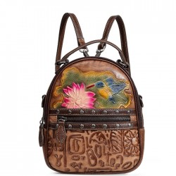 Retro Original Rivet 3D Flower Bird Oracle Print Lotus Leaf Vintage Student Backpack