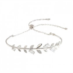 Fresh Crystal Diamond Branch Leaves Bangle Silver Romantic Leaf Women Bracelet