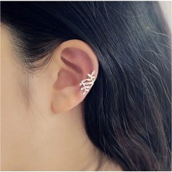 Cute Leaves Silver Pierced Ear Clip Earring