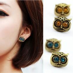 Fashion Retro Copper Silvery Bardian Owl Ear Studs