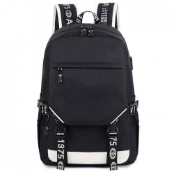 Casual Black Oxford Double Buckle Outdoor Middle School Bag Large Capacity Students Backpack