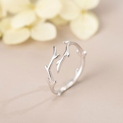 Unique Elk Antlers Branches Sterling Silver Gift Jewelry For Her Adjustable Open Ring