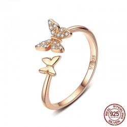 Fashion Adjustable Crystal Dainty Animal Promise Engagement Wedding Silver Ring Cute Double Butterfly Open Rings