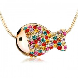 Cute Colorful Rhinestone Fish Necklace