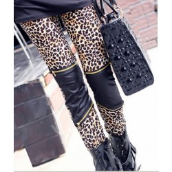 Fashion Leopard Print Stitching Zipper Slim Leggings