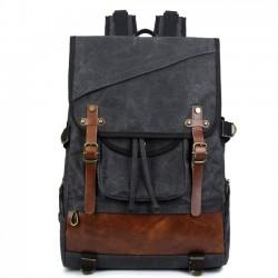 Leisure Oblique Zipper Men's Outdoor Waterproof Large Double Belt Retro Travel Canvas Backpack