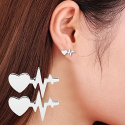 Romantic Women's Heartbeat Electrocardiogram Earrings Heart Love Earrings Studs
