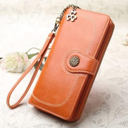 Retro Ladies Oil Wax Mobile Phone Wallet Zipper Women Purse Clutch Bag