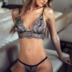Sexy Mesh Silver Embroidery Bikini T-back Women's See Through Lace Lingerie