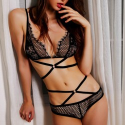 Sexy Lady's V-neck Lace Hollowed-out See Through Temptation Bundling Backless Lingerie