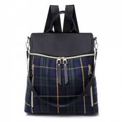 British Style Plaid School Bag Leisure Contrast Color Multi-function Canvas Backpack