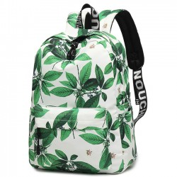 Leisure Leaves Flower Ink Style School Rucksack Student Backpack