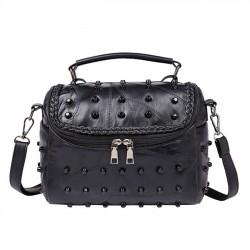 Punk Ladies Stitching Leather Weave Rivets Shoulder Bags