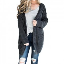 Leisure Medium Long Large Ladies Twist Knit Cardigan Women Sweater