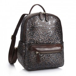 Retro Real Leather Handmade Branch 3D Carved Large College Backpack