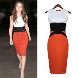 Fashion Dress For Women Bodycon OL Style Sleeveless Evening Slim Dresses