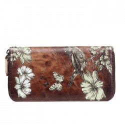 Retro Handmade Lady Wallet Large Phone Clutch Bag Flower Bird Butterfly Embossing Purse