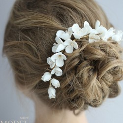 Fresh Bridal Hairpin Flower Ceramic Hair Comb Wedding Hair Accessories