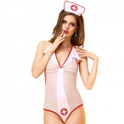 Sexy Nurse Cosplay Costume Role Play Perspective Conjoined Female Lingerie