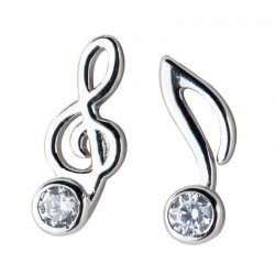 Fashion G-clef Music Note Crystal Silver Earrings For Women Asymmetrical Earrings Studs