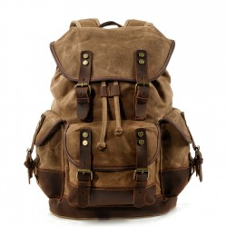 Retro Large Size Travel Backpack Multi Pockets Canvas Rivet Stitching Leather Mountaineering Bag Camping Outdoor Backpack