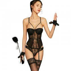 Sexy Teddy Lingerie For Women Steel Ring Gathers Mesh Lace See-through Seductive Corset One-piece Garter Belt Bodysuit Lingerie