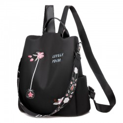 Fashion Lotus Flower Embroidery Oxford Cloth Waterproof Multifunction Shoulder Bag Women's Backpack