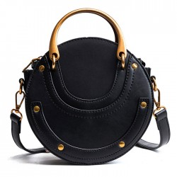 Unique Design Small Round Bag Frosted Stitching Handbag Women's Shoulder Bag