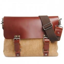Vintage Double Hasp Solid Linen Leather Briefcase Shoulder Bag Messenger Bag