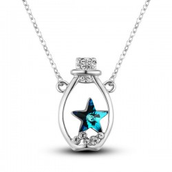 Star Rhinestone Lucky Bottle Pendant Necklace