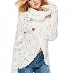 Unique Women's Irregular Coat Long Sleeve High Collar Wool Knitting Sweater