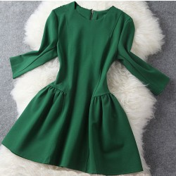 Elegant Slim Bubble Dress/Middle Long Sleeve Skirt