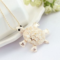 Little Turtle Cute Opal Hollow Flower Pendant Necklace Sweater Necklace