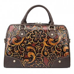 Retro Embossing Travel Rivet Handbag Handmade Embossing Smooth Flower Large Pillow Style Shoulder Bag