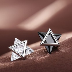 Unique Double Triangle Silver Zircon Personality Earrings Studs