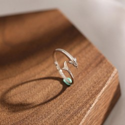 Cute Silver Tail Dolphin Female Open Ring Girl Romantic Gift Ring