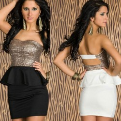 New Fashion Nice Sequined Strapless Lotus Leaf Lace Dress